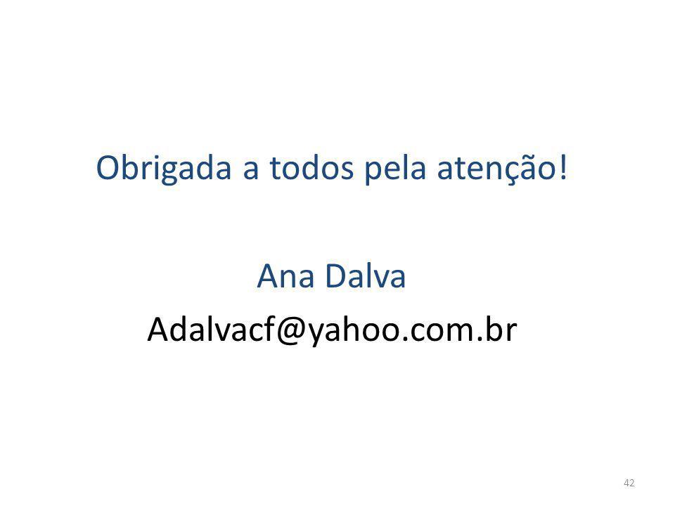 Obrigada a todos pela atenção! Ana Dalva Adalvacf@yahoo.com.br