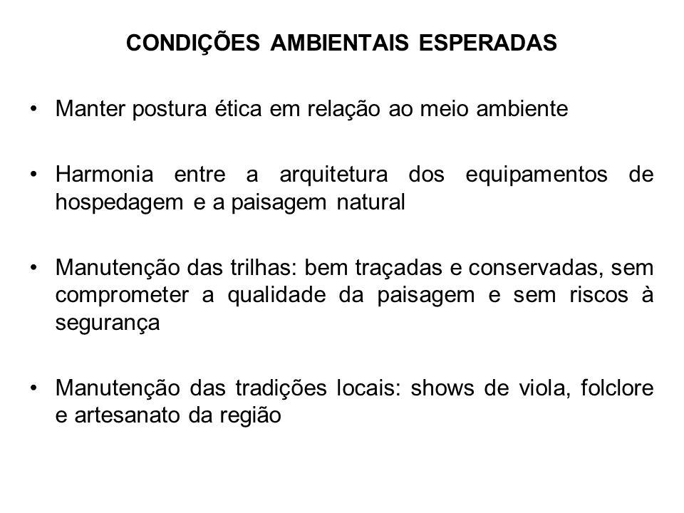 CONDIÇÕES AMBIENTAIS ESPERADAS