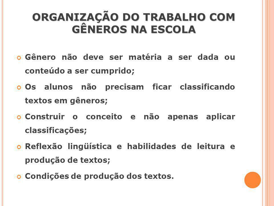 ORGANIZAÇÃO DO TRABALHO COM GÊNEROS NA ESCOLA