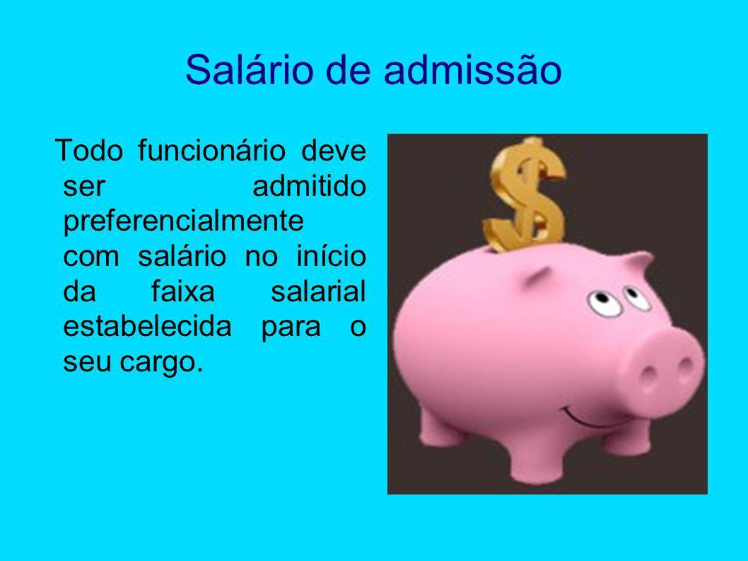 Salário de admissão Todo funcionário deve ser admitido preferencialmente com salário no início da faixa salarial estabelecida para o seu cargo.