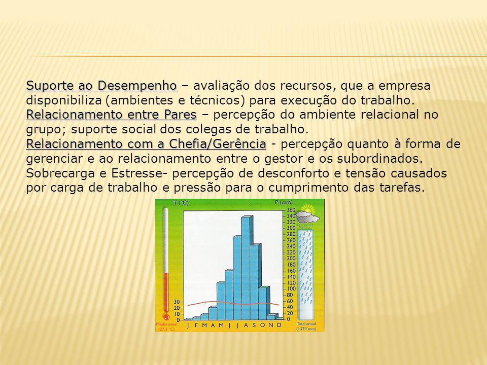 Suporte ao Desempenho – avaliação dos recursos, que a empresa disponibiliza (ambientes e técnicos) para execução do trabalho.