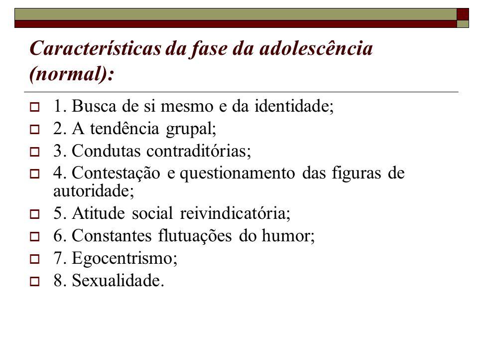 Características da fase da adolescência (normal):