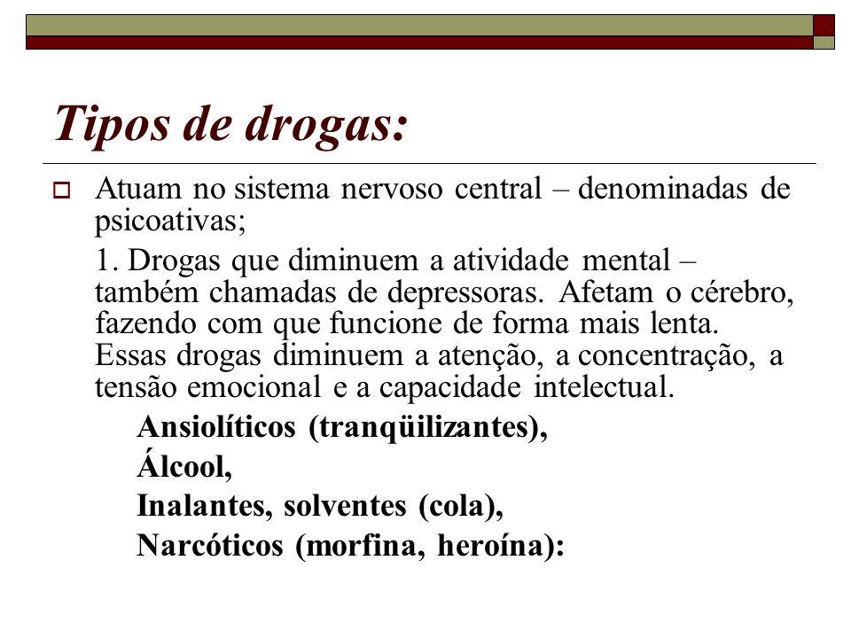 Tipos de drogas: Atuam no sistema nervoso central – denominadas de psicoativas;