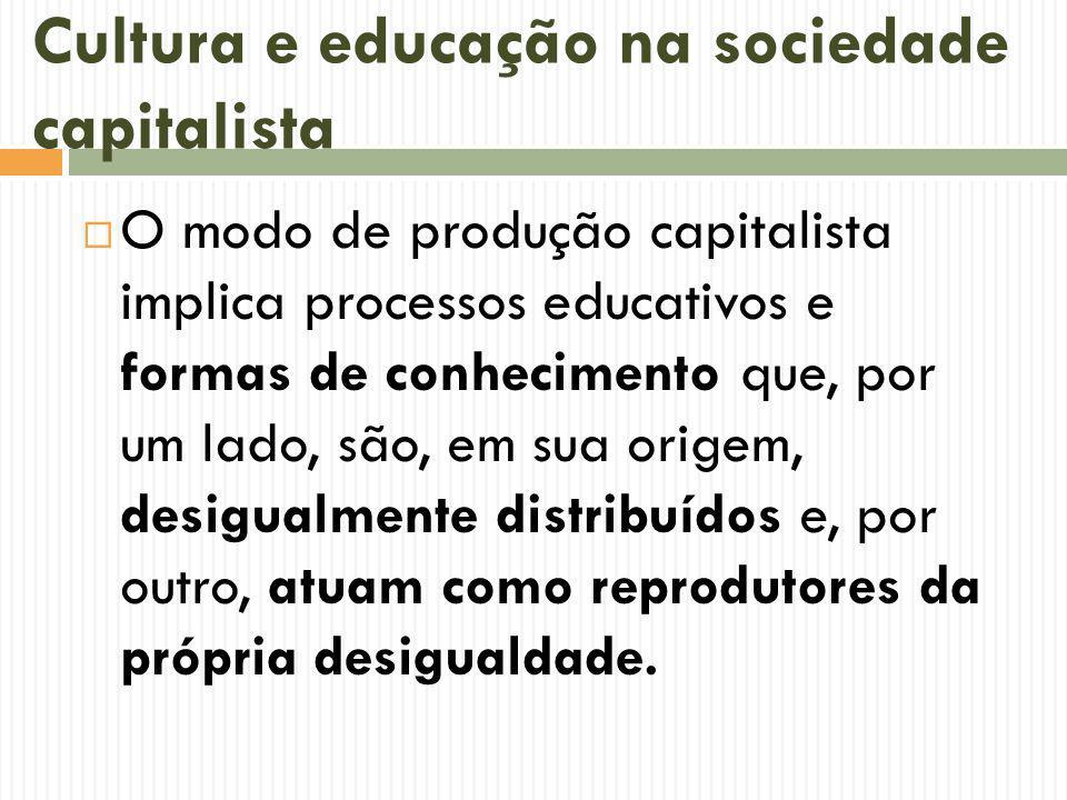 Cultura e educação na sociedade capitalista