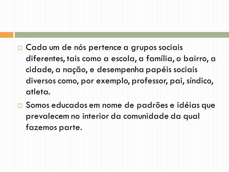 Cada um de nós pertence a grupos sociais diferentes, tais como a escola, a família, o bairro, a cidade, a nação, e desempenha papéis sociais diversos como, por exemplo, professor, pai, síndico, atleta.