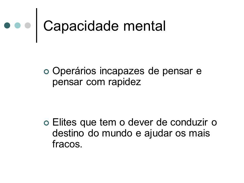 Capacidade mental Operários incapazes de pensar e pensar com rapidez