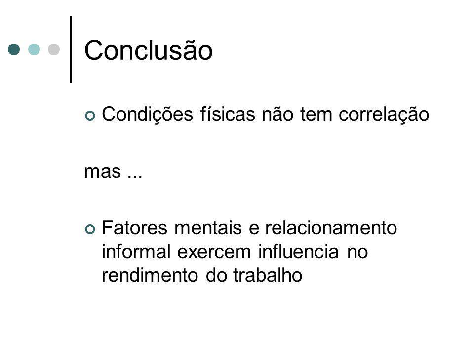 Conclusão Condições físicas não tem correlação mas ...