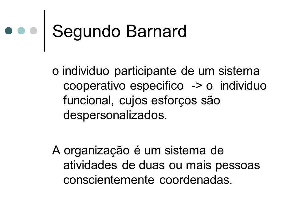 Segundo Barnard o individuo participante de um sistema cooperativo especifico -> o individuo funcional, cujos esforços são despersonalizados.