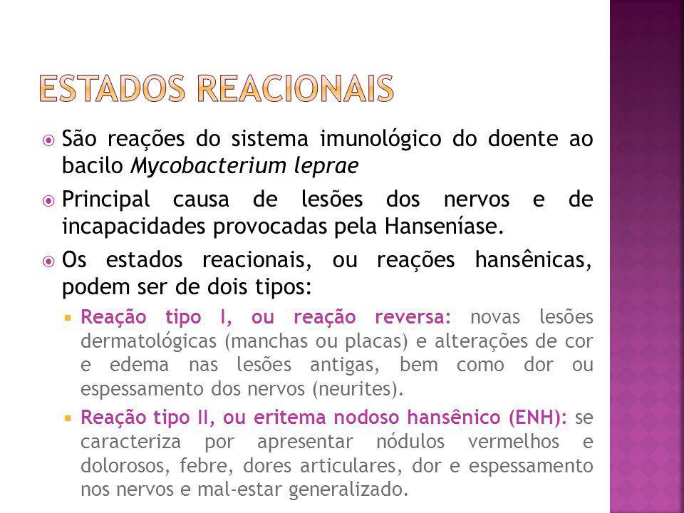 Estados reacionais São reações do sistema imunológico do doente ao bacilo Mycobacterium leprae.