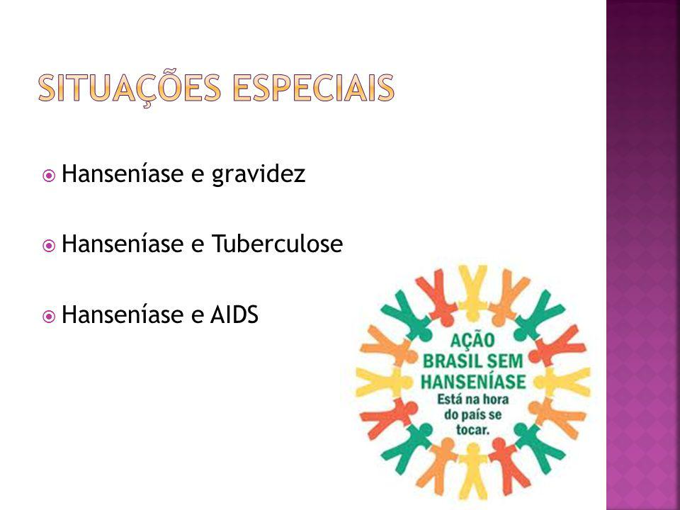 Situações especiais Hanseníase e gravidez Hanseníase e Tuberculose