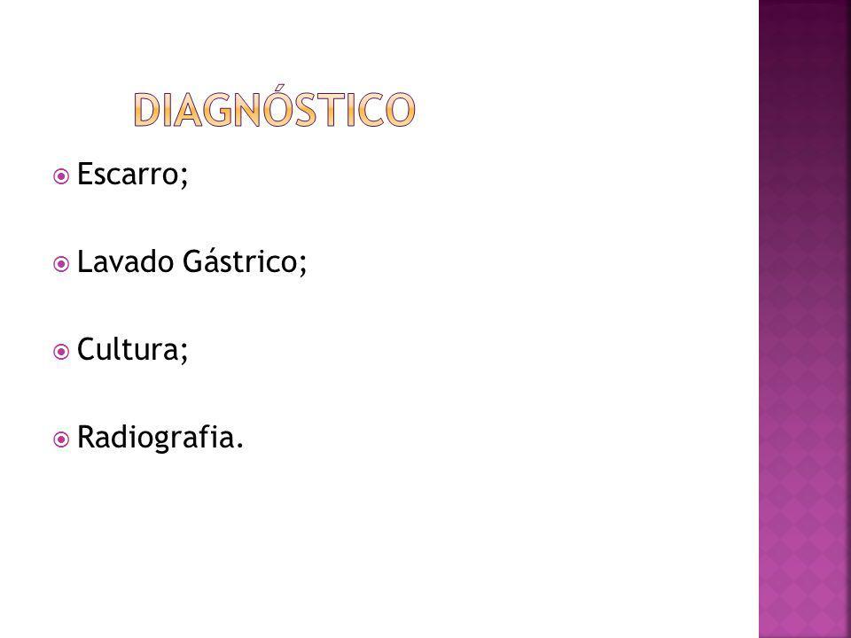 Diagnóstico Escarro; Lavado Gástrico; Cultura; Radiografia.