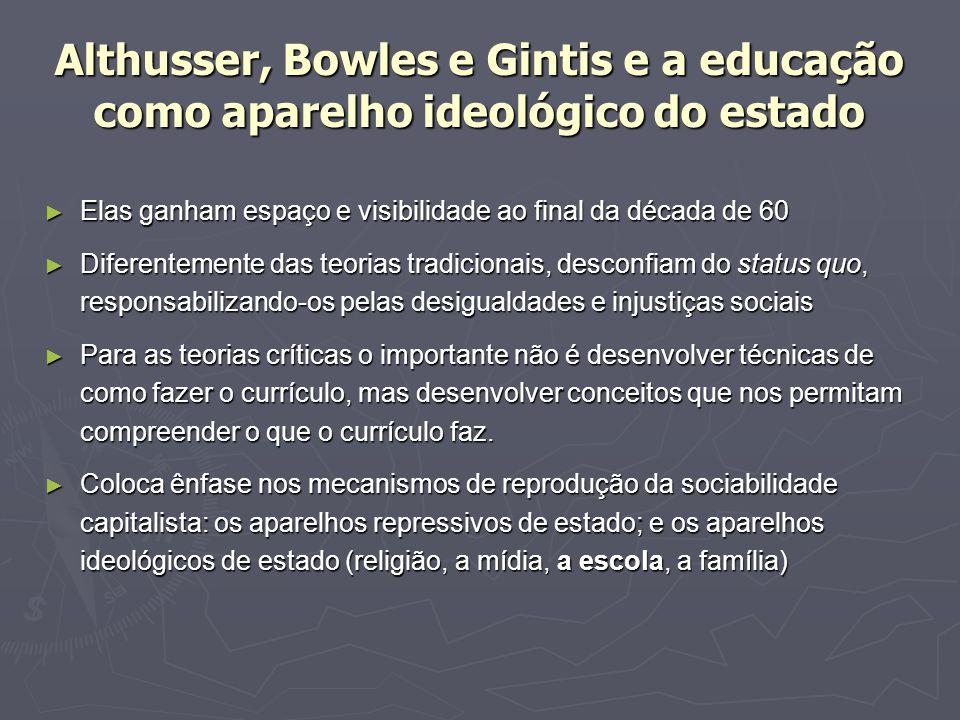 Althusser, Bowles e Gintis e a educação como aparelho ideológico do estado