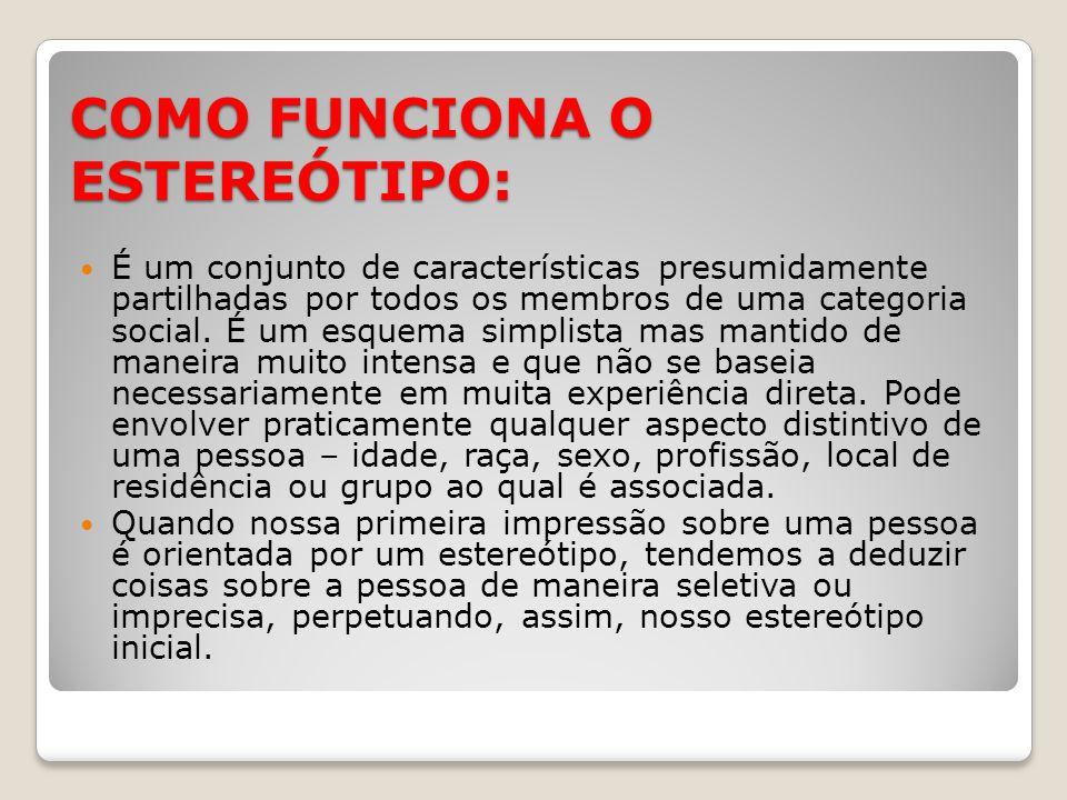 COMO FUNCIONA O ESTEREÓTIPO: