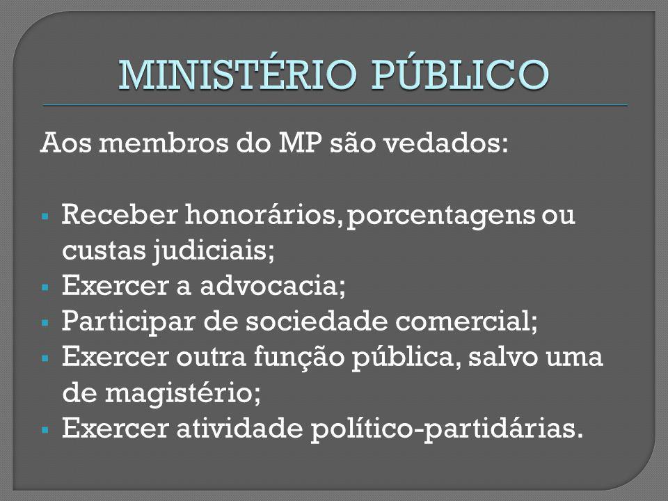 MINISTÉRIO PÚBLICO Aos membros do MP são vedados: