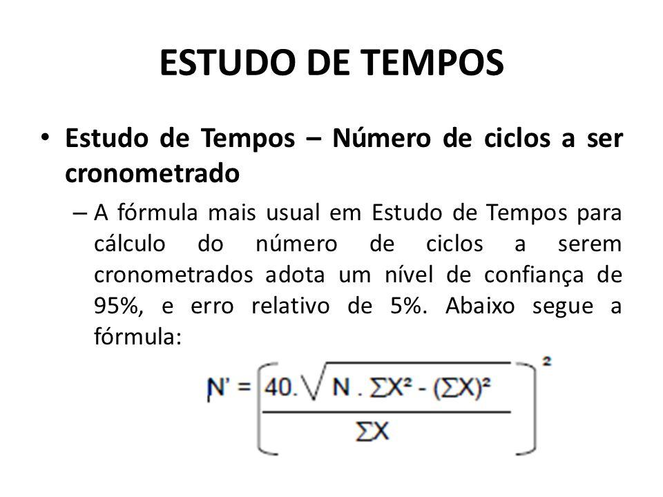 ESTUDO DE TEMPOS Estudo de Tempos – Número de ciclos a ser cronometrado.