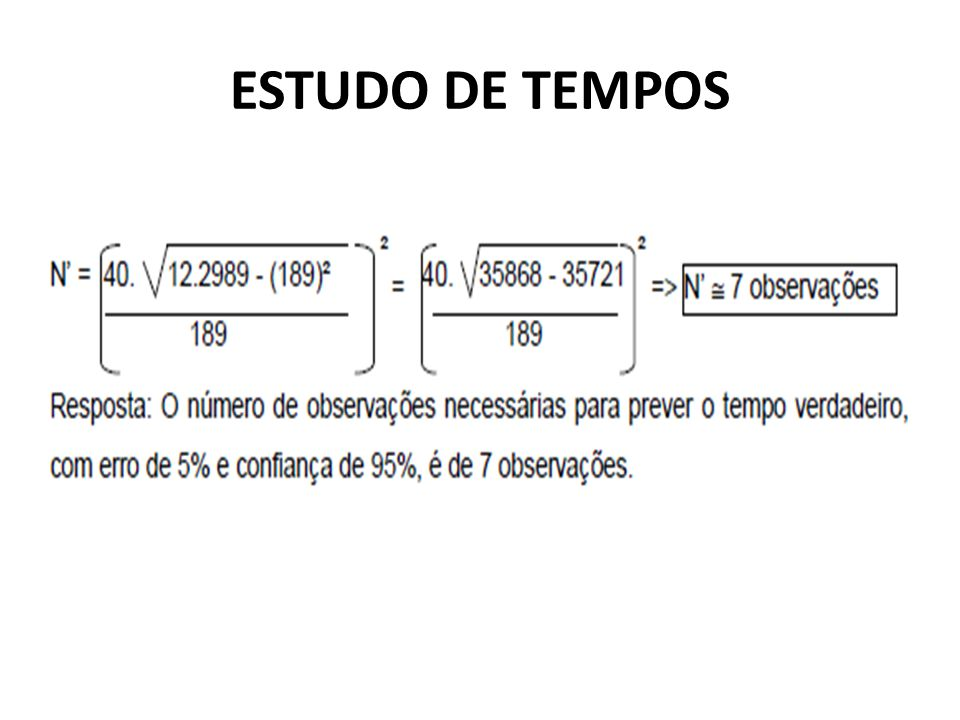 ESTUDO DE TEMPOS