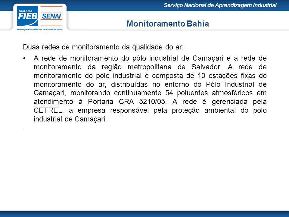 Monitoramento Bahia Duas redes de monitoramento da qualidade do ar: