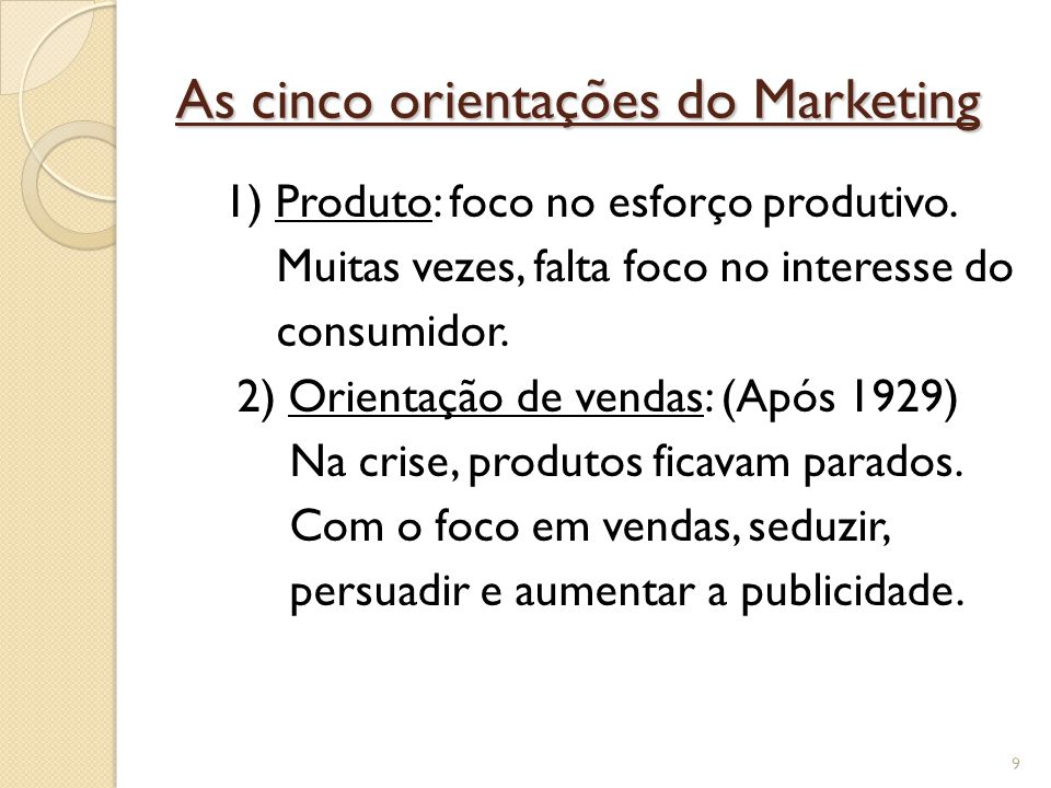 As cinco orientações do Marketing