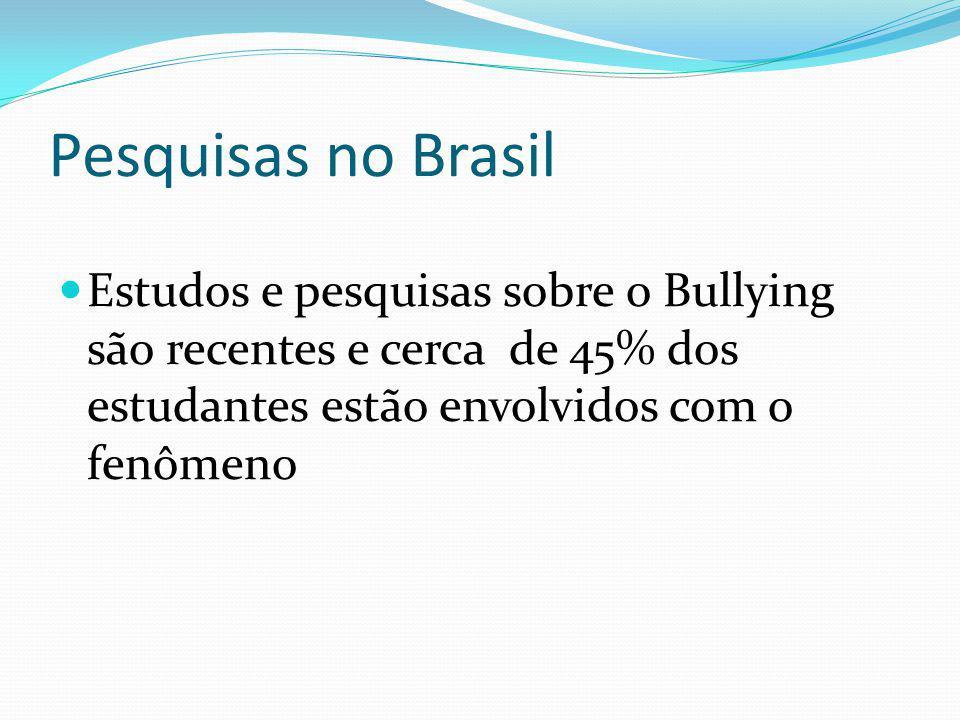 Pesquisas no Brasil Estudos e pesquisas sobre o Bullying são recentes e cerca de 45% dos estudantes estão envolvidos com o fenômeno.