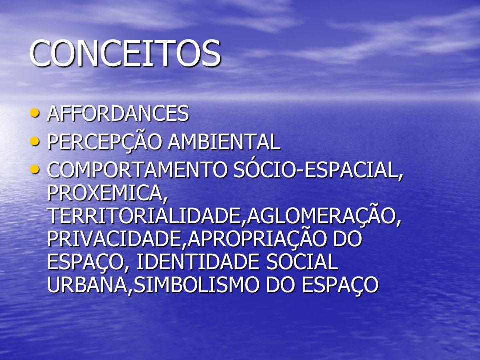 CONCEITOS AFFORDANCES PERCEPÇÃO AMBIENTAL
