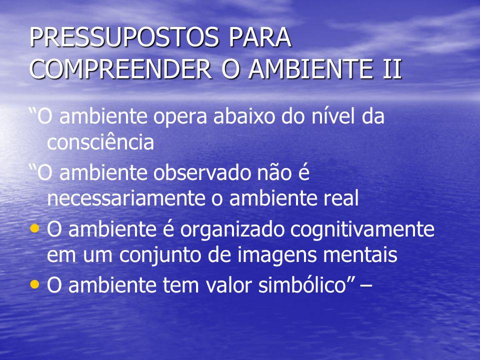 PRESSUPOSTOS PARA COMPREENDER O AMBIENTE II