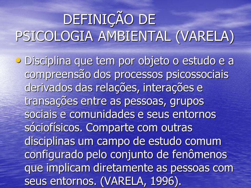 DEFINIÇÃO DE PSICOLOGIA AMBIENTAL (VARELA)