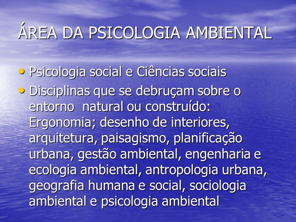 ÁREA DA PSICOLOGIA AMBIENTAL