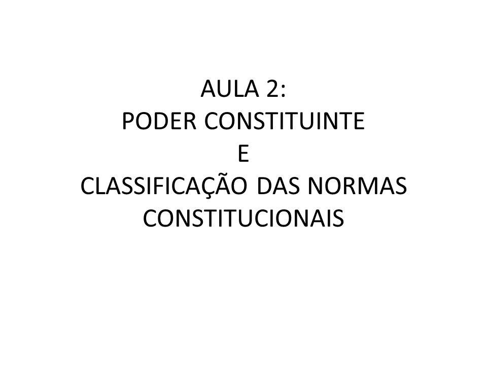 AULA 2: PODER CONSTITUINTE E CLASSIFICAÇÃO DAS NORMAS CONSTITUCIONAIS