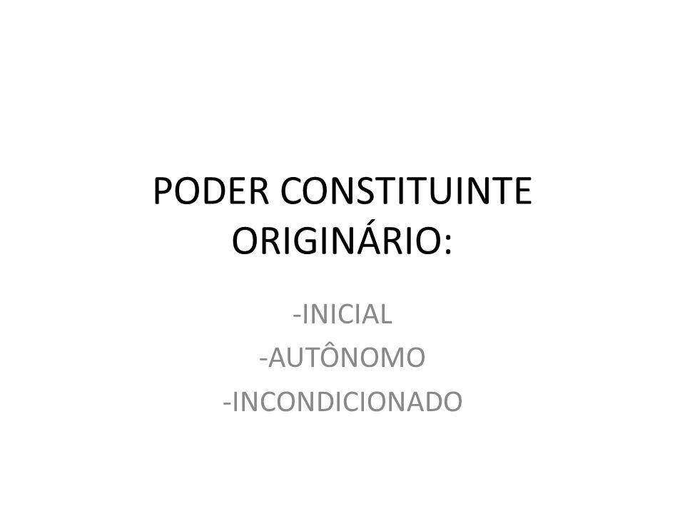 PODER CONSTITUINTE ORIGINÁRIO: