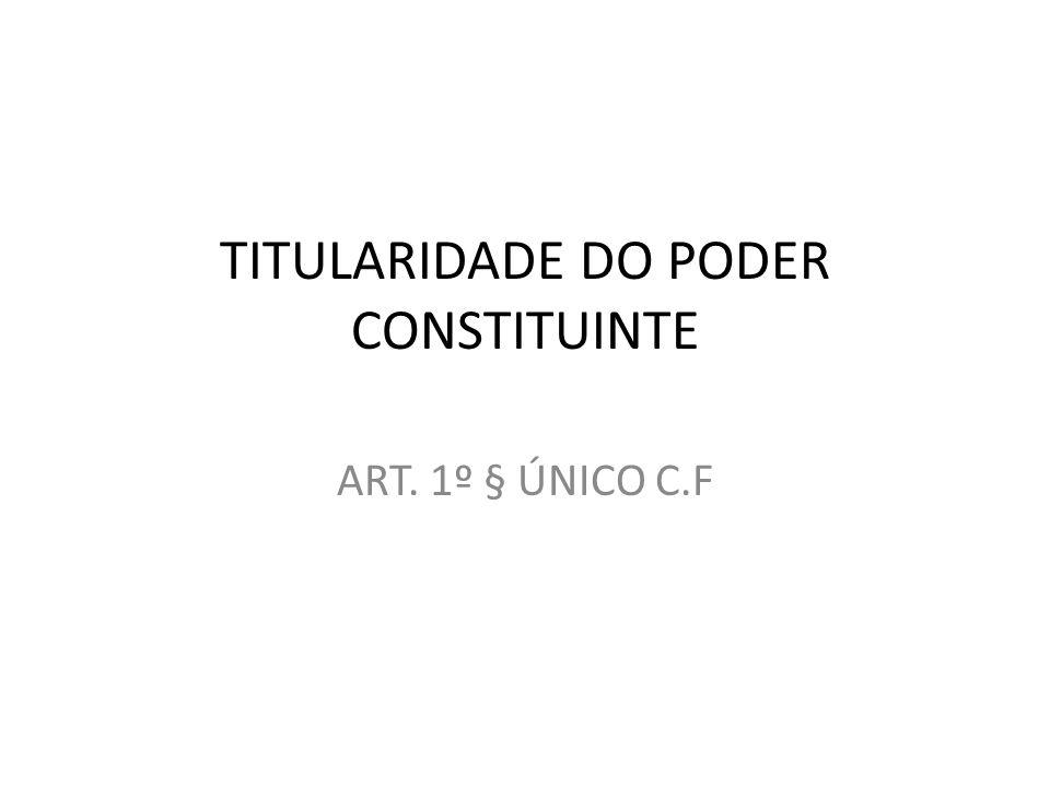 TITULARIDADE DO PODER CONSTITUINTE