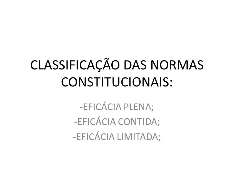CLASSIFICAÇÃO DAS NORMAS CONSTITUCIONAIS: