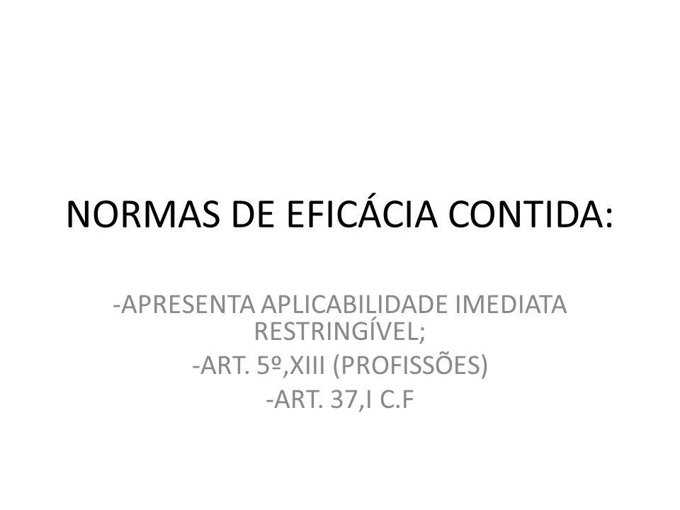 NORMAS DE EFICÁCIA CONTIDA: