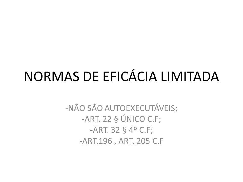 NORMAS DE EFICÁCIA LIMITADA