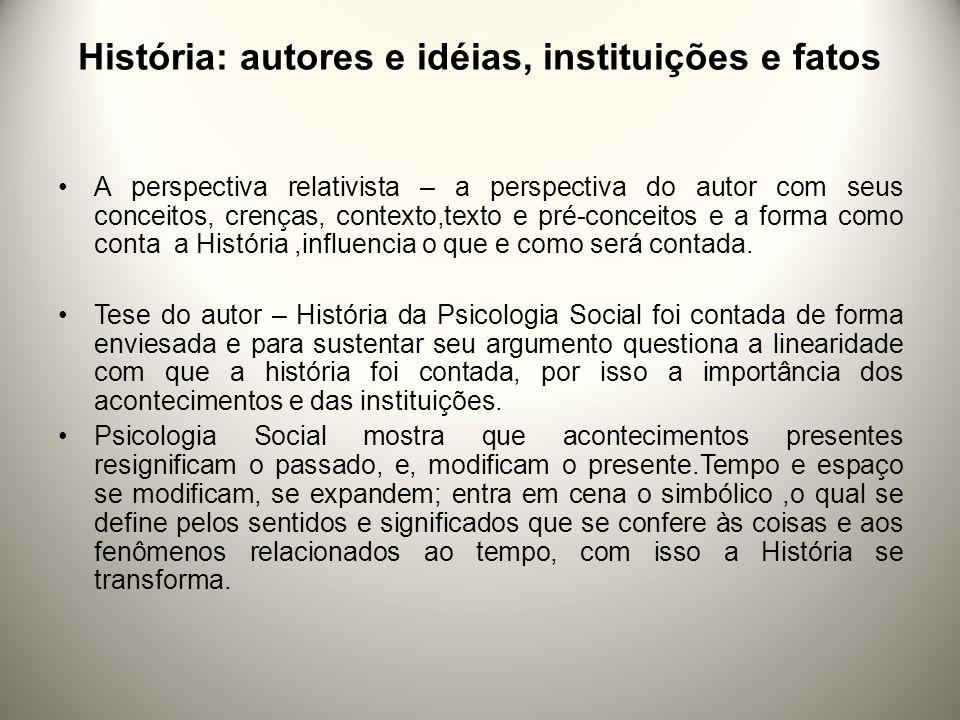 História: autores e idéias, instituições e fatos