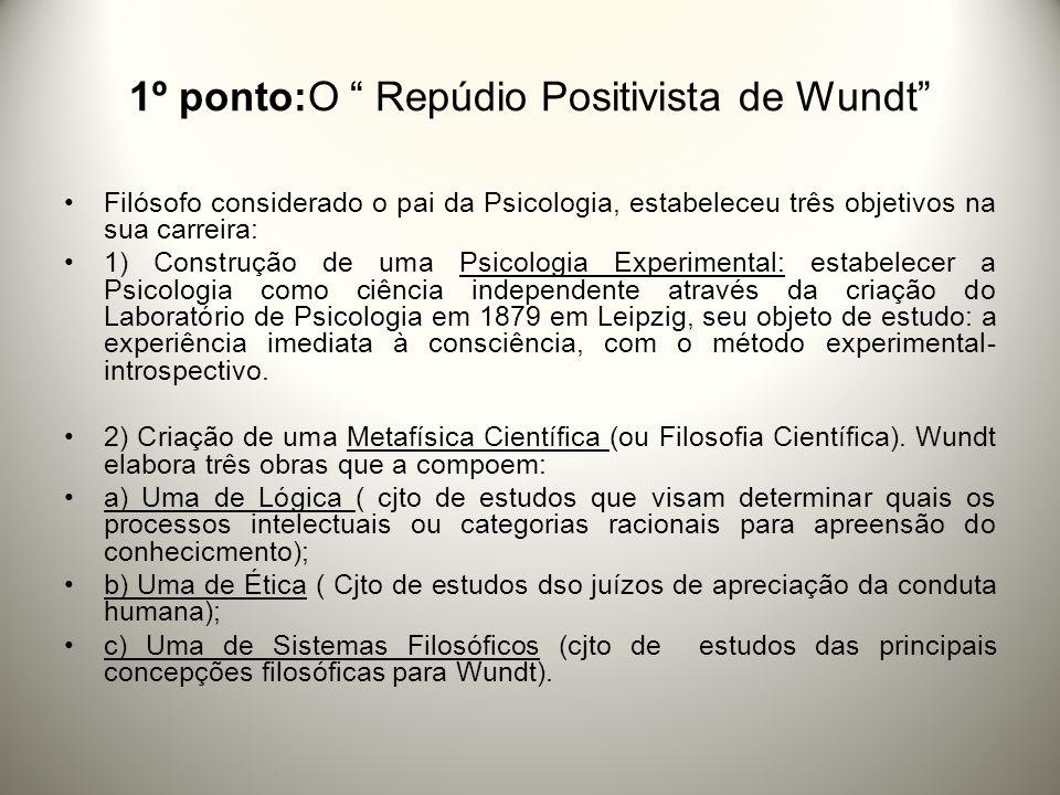 1º ponto:O Repúdio Positivista de Wundt