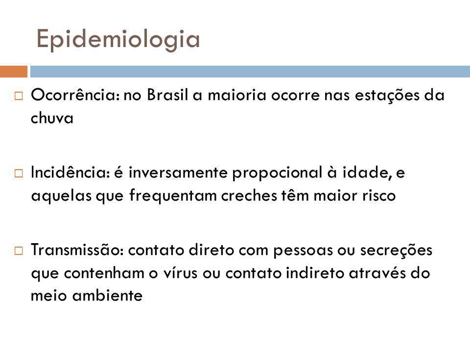 Epidemiologia Ocorrência: no Brasil a maioria ocorre nas estações da chuva.