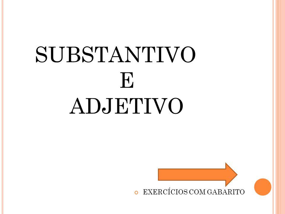 SUBSTANTIVO E ADJETIVO EXERCÍCIOS COM GABARITO