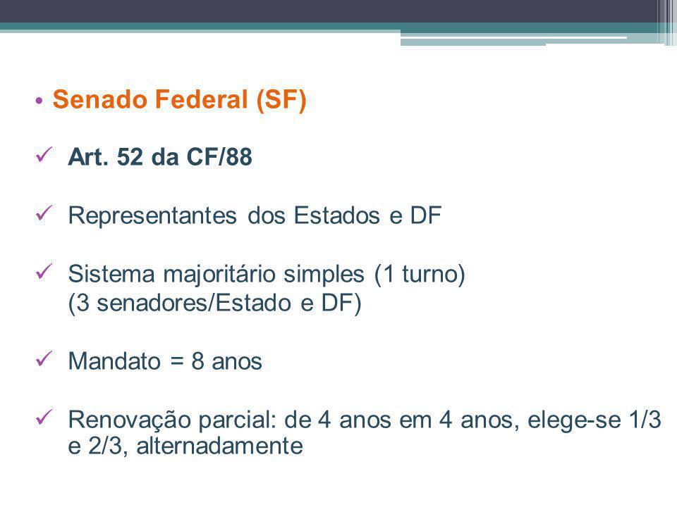 Senado Federal (SF) Art. 52 da CF/88 Representantes dos Estados e DF