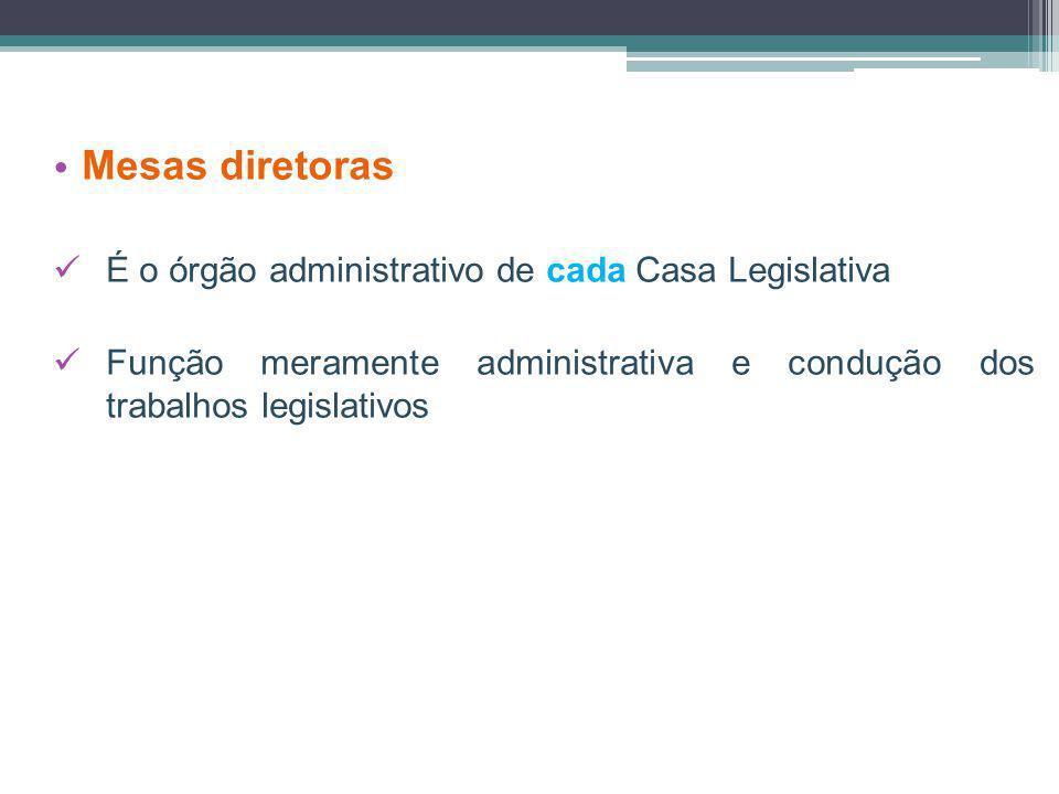 Mesas diretoras É o órgão administrativo de cada Casa Legislativa