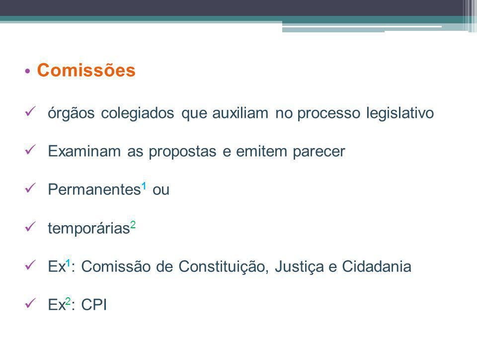 Comissões órgãos colegiados que auxiliam no processo legislativo