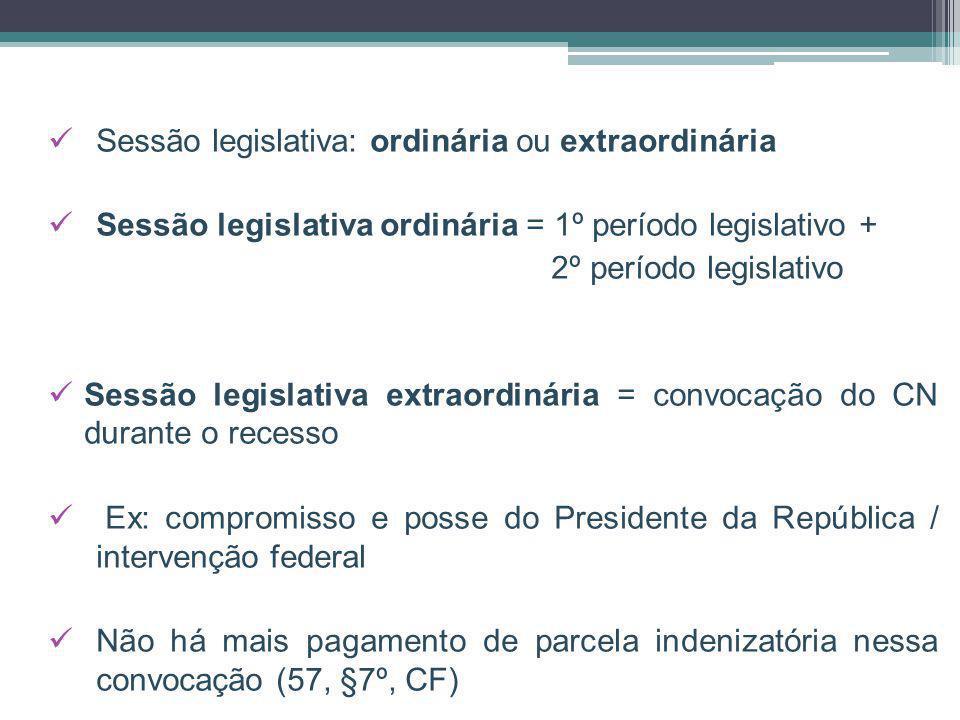 Sessão legislativa: ordinária ou extraordinária