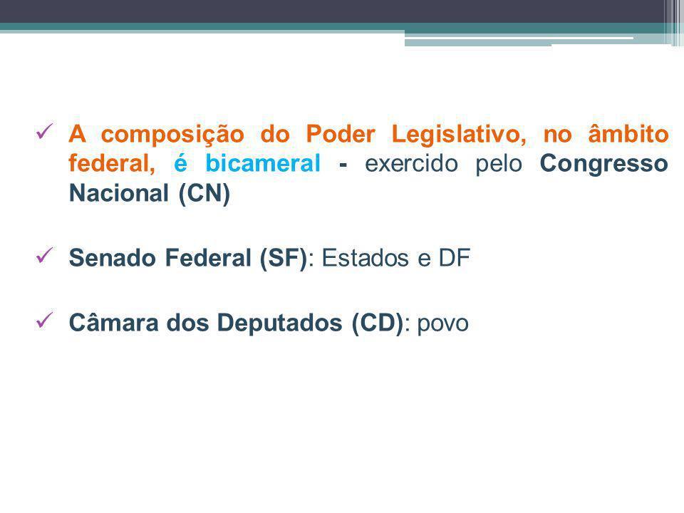 A composição do Poder Legislativo, no âmbito federal, é bicameral - exercido pelo Congresso Nacional (CN)