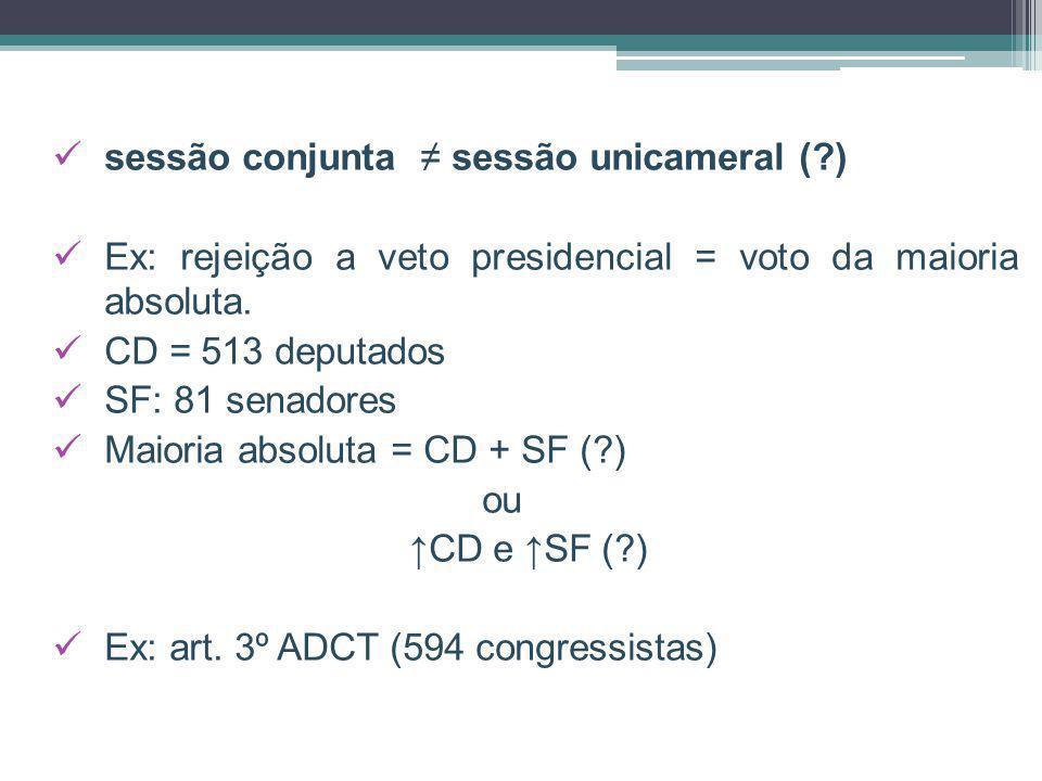 sessão conjunta ≠ sessão unicameral ( )