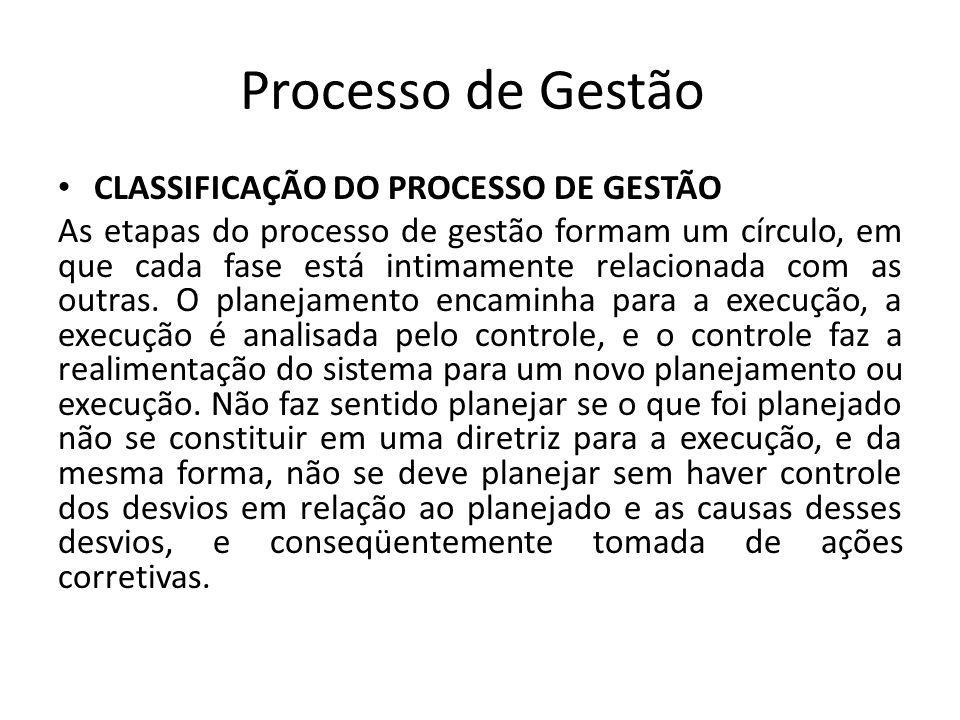 Processo de Gestão CLASSIFICAÇÃO DO PROCESSO DE GESTÃO