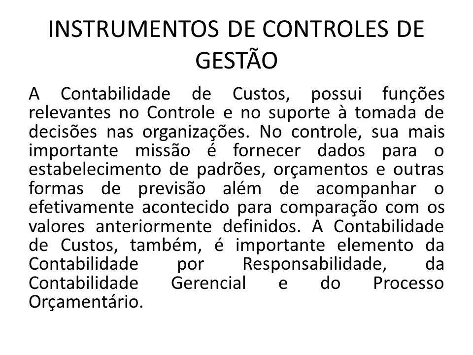 INSTRUMENTOS DE CONTROLES DE GESTÃO