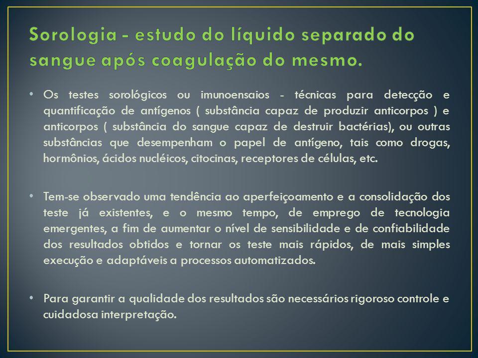 Sorologia - estudo do líquido separado do sangue após coagulação do mesmo.