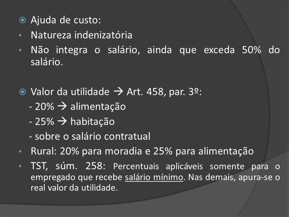 Ajuda de custo: Natureza indenizatória. Não integra o salário, ainda que exceda 50% do salário. Valor da utilidade  Art. 458, par. 3º: