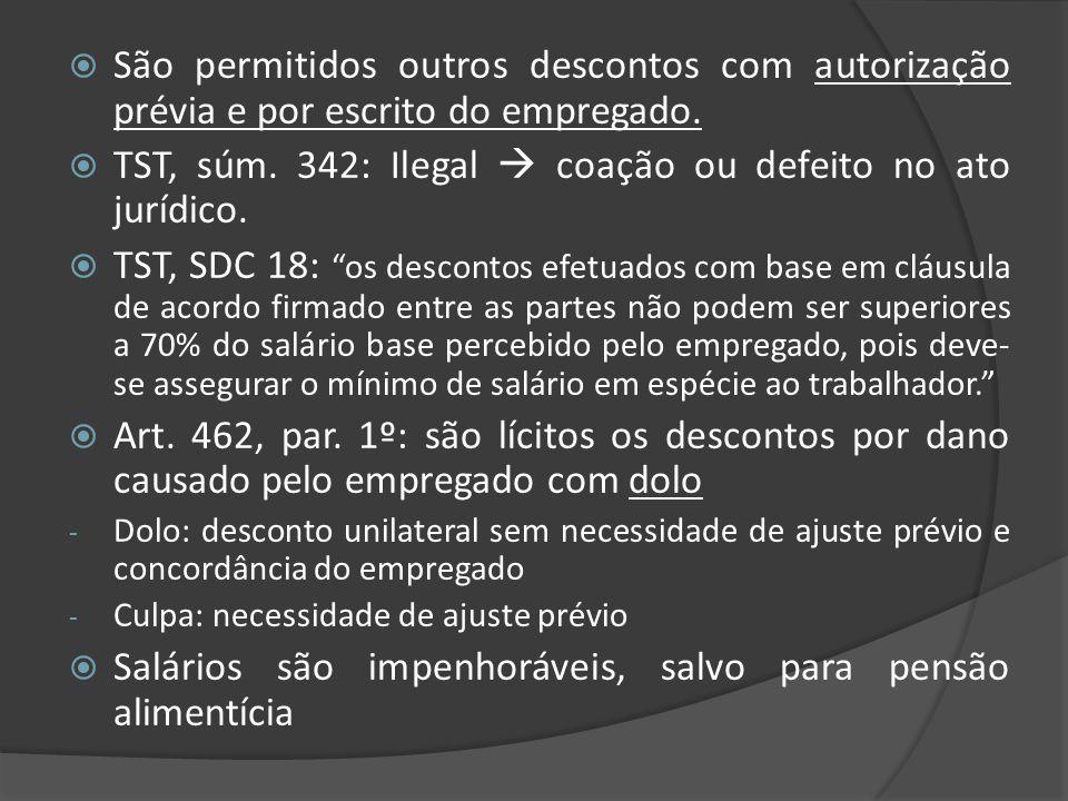 TST, súm. 342: Ilegal  coação ou defeito no ato jurídico.