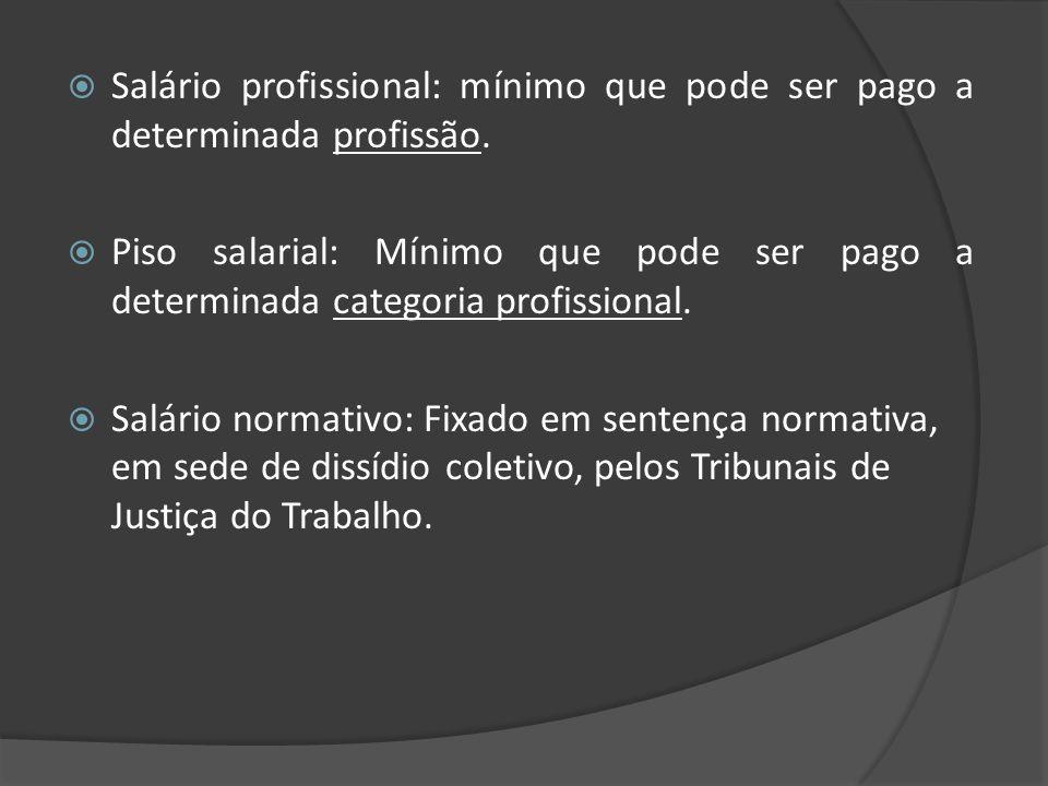 Salário profissional: mínimo que pode ser pago a determinada profissão.