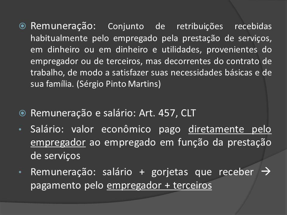 Remuneração: Conjunto de retribuições recebidas habitualmente pelo empregado pela prestação de serviços, em dinheiro ou em dinheiro e utilidades, provenientes do empregador ou de terceiros, mas decorrentes do contrato de trabalho, de modo a satisfazer suas necessidades básicas e de sua família. (Sérgio Pinto Martins)